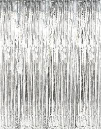 Silver Foil Curtains Giftexpress Pack Of 2 Metallic Silver Foil Fringe