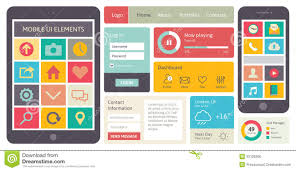 flat ui design kit for smart phone royalty free stock images