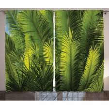 Tropical Curtain Panels Palm Leaf Curtains Wayfair