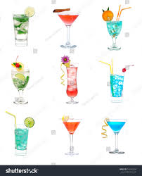 red martini drink cocktails collage collection blue lagoon tropical stock photo