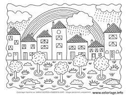 Coloriage paysage ville nature et arc en ciel  JeColoriecom