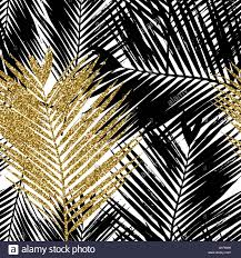 seamless repeating pattern with silhouettes of palm tree leaves in