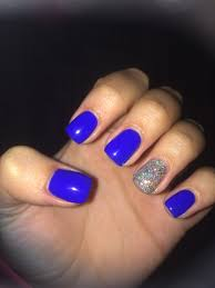 short acrylic nails royal blue with sparkle accent beauty