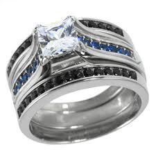 stainless steel wedding sets thin blue line engagement cz ring set stainless steel princess cut