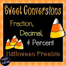 converting fractions decimals and percents halloween freebie
