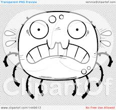 spider transparent background clipart graphic of a cartoon black and white lineart scared spider