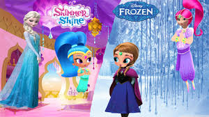 shimmer and shine transforms into disney frozen elsa and princess