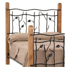 bedroom design charming oak wood and black wrought iron headboard