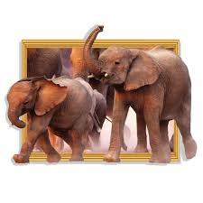 diy home decor 3d running elephant fake window 3d wall sticker