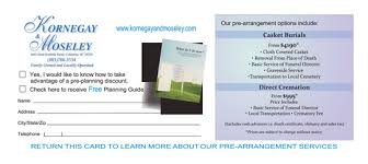 funeral pre planning high quality low cost preplanning grief aftercare direct mail