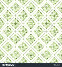 2017 Fashion Color Greenery Watercolor Lace Pattern On White Stock Illustration