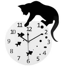 3d home acrylic wall clock cat and fish u2013 gear