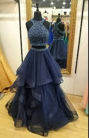 charming navy blue prom dress two piece prom dresses ball gown