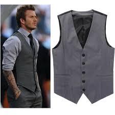 grey slim fit dress vests for david beckham formal mens suit