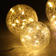 String Lights Balls by Finether Set Of 3 Battery Powered Crackled Glass Balls With Copper