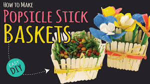 how to make a popsicle stick basket easy party diy kids crafts