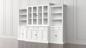 Glass Bookcases Cameo 4 Piece Modular White Glass Door Wall Unit Media Console