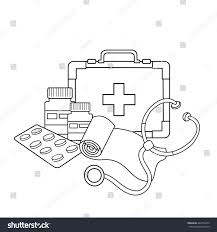 coloring page outline medical instruments profession stock vector