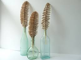 bottle and feather trio home decor antique bottle feather