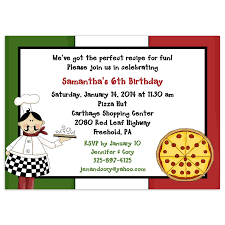 pizza party birthday invitation card with italian flag inspired