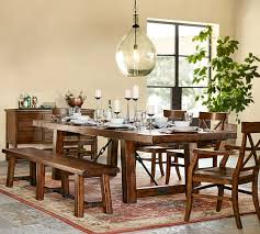 Dining Tables With Bench And Chairs Benchwright Extending Dining Table Bench Set Pottery Barn