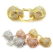 pearl bracelet clasps images Charms double leopard panther head clasps with pave cubic jpg