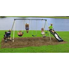 Flexible Flyer Lawn Swing Frame by Flexible Flyer Backyard Flyer 6 Station Metal Swing Set Hayneedle