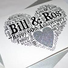 60th wedding anniversary greetings personalised 60th wedding anniversary sparkle card by sew