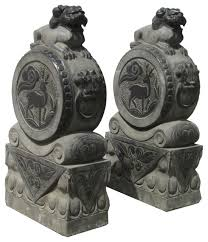pair antique carving fenshui drum foo statue