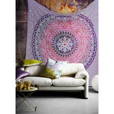 mandala pink pruple ombre indian hippy wall hanging tapestry