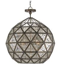 Geometric Pendant Light by Currey And Company 9436 Buckminster 27 Inch Wide 6 Light Large