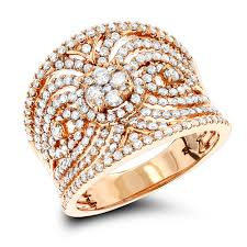 right ring 18k gold designer diamond right ring for women 1 3ct by luxurman