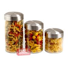 kitchen 3 piece glass jar snacks cereal storage pasta spaghetti
