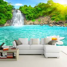 online get cheap waterfall mural wallpaper aliexpress com high quality custom mural wallpaper living room 3d hd waterfall nature landscapes painting photo background non