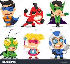 children fun superhero costumes party halloween stock vector