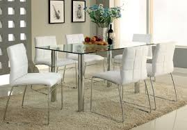 Black Leather Chairs And Dining Table Dining Room 7 Pieces Dinette With Rectangular Glass Top Table