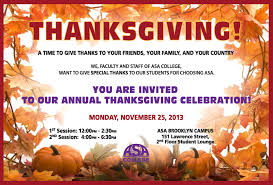 thanksgiving celebration mon nov 25 in bk and tues nov 26 in