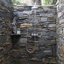 bathroom narrow bathroom design with granite stone wall and