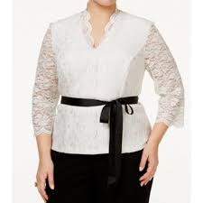 belted blouse alex evenings white s size 2x plus lace belted blouse
