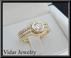 Gold Wedding Ring Sets by Yellow Gold Diamonds Wedding Ring Set Vidar Jewelry Unique