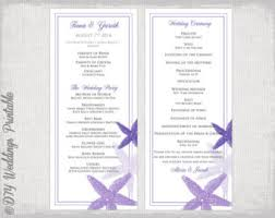 Ceremony Order For Wedding Programs Beach Wedding Program Template Coral Starfish