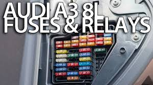 where are fuses and relays in audi a3 8l cabin and engine fuse