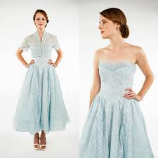 1950s bridesmaid dress vintage strapless blue dress with