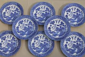 vintage japan blue willow china set of 8 dinner plates japanese