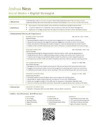 Digital Media Resume Examples by Joshua Ness Digital Strategist Résumé