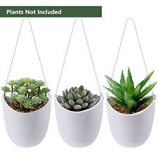 amazon com supla 3 pcs ceramic hanging planters in white with