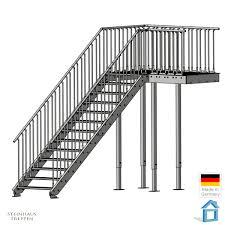 steinhaus treppen treppenpodest gh 240 cm bis 320 cm mit übergang stahl brücke 100 x