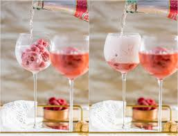 raspberry pink champagne floats made with pink champagne and