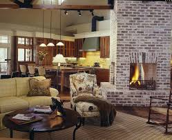 brick fireplace remodel living room farmhouse with round coffee