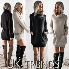 uk womens chunky knitted dress roll neck jumper dress ladies mini